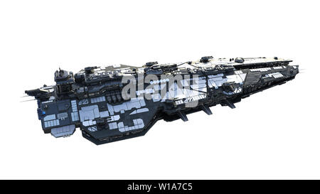 Alien spaceship flying, UFO spacecraft in flight isolated on white background, top view, 3D rendering - Stock Image