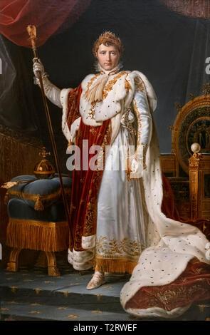 Napoleon, Emperor Napoleon Bonaparte in coronation dress and insignia. Napoléon I en costume du Sacre painting François Gérard (studio of) 1805 - Stock Image