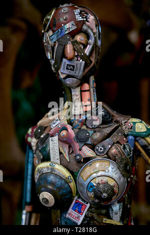 Metal art. Female figure formed entirely from metal parts at  Ripley's believe it or not; Pattaya; Thailand, Southeast Asia - Stock Image