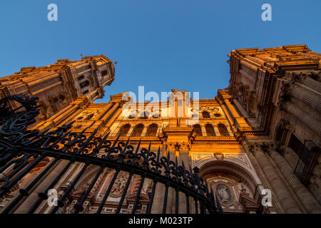 MALAGA, ANDALUSIA / SPAIN - OCTOBER 05 2017: CATHEDRAL BUILDING AND BLUE SKY - Stock Image