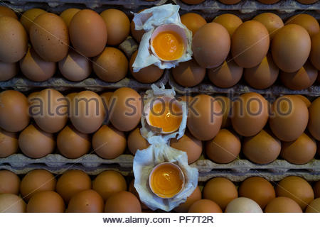 Yellow eggs with yolk in the market in rhythmic series - Stock Image