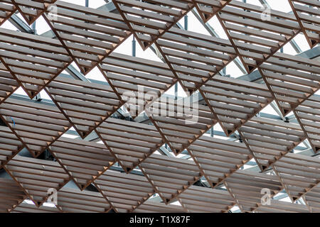 Triangular roof structure at Paseo Queretaro is a modern 'malltertainment' shopping mall and entertainment district located in Queretaro, Mexico - Stock Image