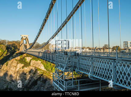 Clifton Suspension Bridge over the Clifton Gorge in Bristol in the West of England - Stock Image
