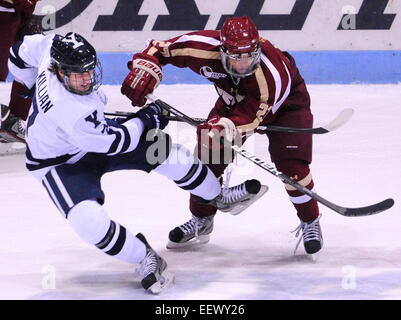 New Haven CT USA-- Yale's Matt Killian takes the hit from BC's Quinn Smith during the second period.   Peter - Stock Image