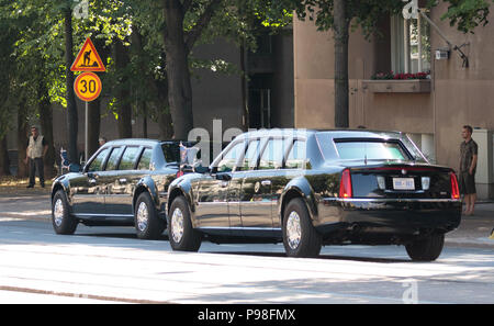 Helsinki, Finland. 16th July 2018. Identical twins of the Presidential limousine 'The Beast' Credit: Hannu Mononen/Alamy Live News - Stock Image