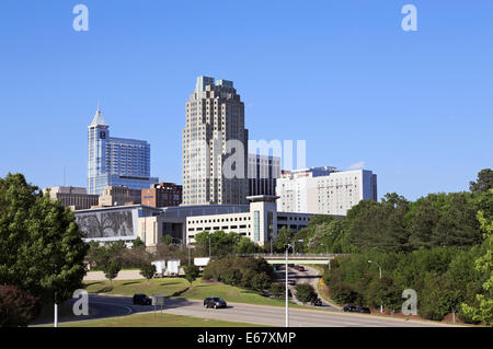 Raleigh, North Carolina. Skyline with PNC building, BB&T and Marriott hotel. The Convention center in the foreground. - Stock Image
