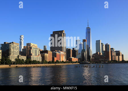 One World Trade Center, Financial District, Lower Manhattan, Hudson River, New York City, United States of America, North America - Stock Image