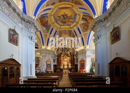 France, Haute Savoie, St Nicolas de Veroce, Les sentiers du baroque, St Nicolas de Veroce church - Stock Image