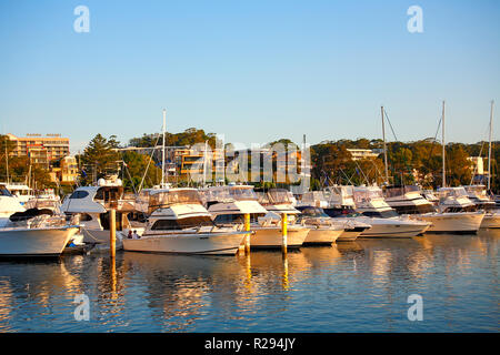 Boats at Nelson Bay marina, Port Stephens, NSW, Australia - Stock Image