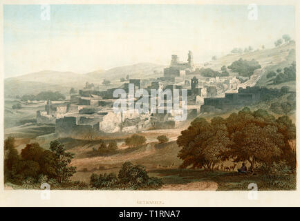 Middle East, West Bank, Bethany, view to the location, coloured steel engraving by Poppel and Kurz after Halbreiter by Friedrich Adolf and Friedrich Otto Strauss, around 1861. , Artist's Copyright has not to be cleared - Stock Image