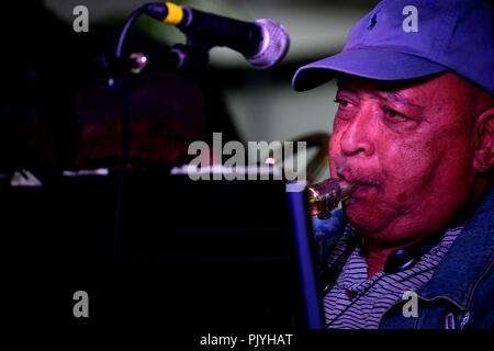 Philadelphia, USA. 08th Sep, 2018. Cosmic and experimental jazz ensemble Sun Ra Arkestra, conducted by the 94 year old Marshall Allen, soundcheck ahead of a performance in Philadelphia, PA, on September 8, 2018. Credit: PhotograPHL/Alamy Live News - Stock Image