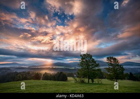 foggy sunrise over the Bohemian Switzerland - Stock Image