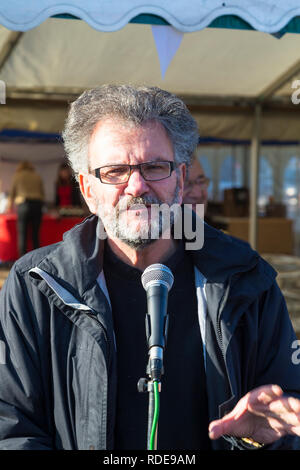 Peter Chowney, Labour candidate for Hastings and Rye, Speaking at the Hastings Herring festival, East Sussex, uk - Stock Image