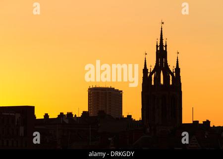 Newcastle upon Tyne buildings at sunset, skyline, England - Stock Image