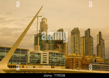 View of the old harbor area (Puerto Madero) by sunset, Buenos Aires, Argentina - Stock Image