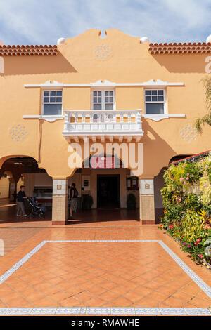Balcony and arches inside the Nuestra Senora de Africa, African market, Santa Cruz Tenerife, Canary Islands, Spain - Stock Image
