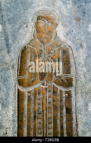 St Mawgan's Church in the village of St Mawgan in Pydar, Lanherne, Newquay, Cornwall, UK. A fine 16c memorial brass to one of the Arundell family - Stock Image