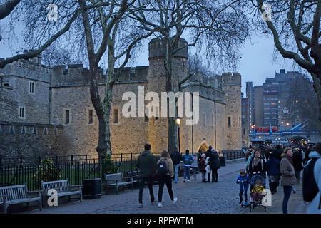 Evening dusk nighttime floodlit image of the tower of London - Stock Image