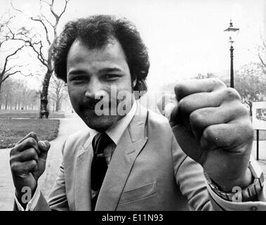 Mar 19, 1979 - London, England, UK - (File Photo) JOHN CONTEH is a former British boxer. He won the middleweight gold medal at the 1970 British Commonwealth Games, and he won the WBC Light Heavyweight crown in October 1974. - Stock Image