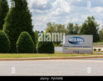 LINCOLNTON, NC, USA-9/2/18:  Sign and logo for the privately held Brazilian company, Master Power Turbo, producing turbochargers for commercial trucks - Stock Image