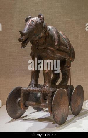 Copper Rhinoceros. 1500-1050 BC. National Museum, New Delhi, India. - Stock Image
