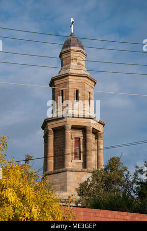 Tower of the early colonial-era St George's Church in De Witt Street, Battery Point, Hobart, Tasmania, Australia - Stock Image