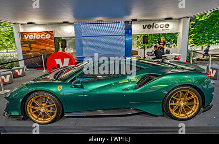 Turin, Piedmont, Italy. 22nd June 2019. Italy Piedmont Turin Valentino park Auto Show 2019 - Ferrari Credit: Realy Easy Star/Alamy Live News Credit: Realy Easy Star/Alamy Live News - Stock Image