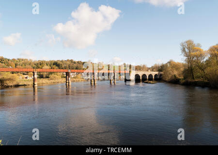 Image of an old railway bridge over Blackwater River in the town of Cappoquin in County Waterford,Ireland. - Stock Image