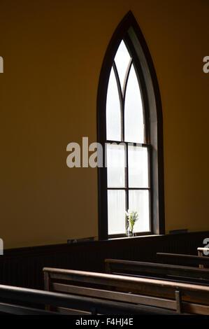 Rural Church window in Arizona - Stock Image