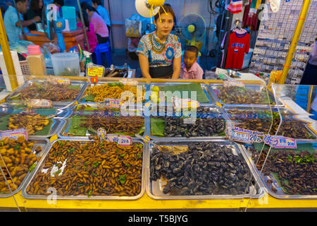 Insect stall, Night Market, Surat Thani, Thailand - Stock Image