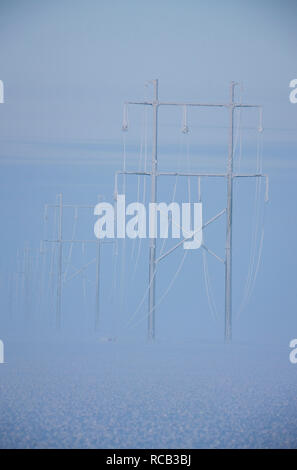 Winter Frost Saskatchewan Canada ice storm Power Lines - Stock Image
