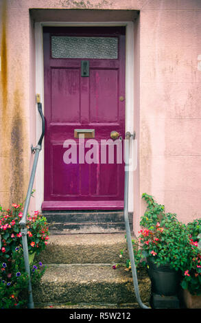 Purple front door of a house in Fowey, Cornwall, England, UK - Stock Image