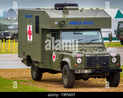 British Army Military Ambulance built on a Land Rover Chassis. - Stock Image