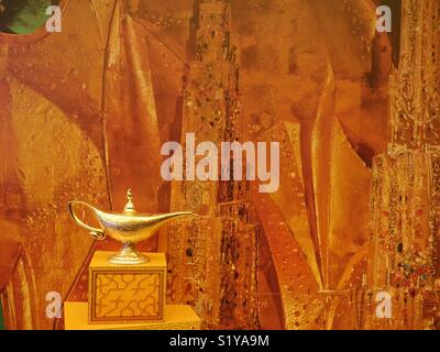 Aladdin's lamp, theatre prop, New York, USA - Stock Image