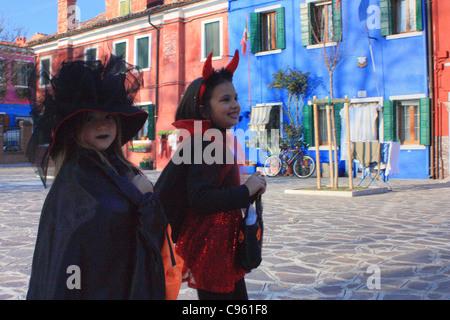 Helloween kids in Venice, Burano island - Stock Image