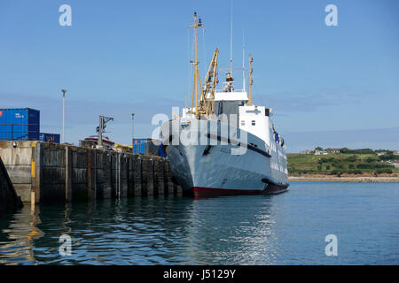 Scillonian III at St. Mary's Quay, Isles of Scilly -1 - Stock Image