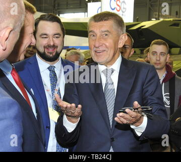 Brno, Czech Republic. 29th May, 2019. Czech PM Andrej Babis visits the international trade fair of defence and security technology IDET, trade fair of security technology and services ISET and trade fair of firefighting technology PYROS in Brno, Czech Republic, May 29, 2019. Credit: Igor Zehl/CTK Photo/Alamy Live News - Stock Image