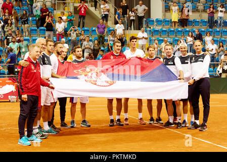 Kraljevo, Serbia. 15th September 2018. Celebrations all around as Serbia win the doubles and take unbeatable 3-0 lead in the Davis Cup 2018 Tennis World Group Play-off Round at the Sportski Center Ibar in Kraljevo, Serbia. Credit: Karunesh Johri/Alamy Live News. - Stock Image