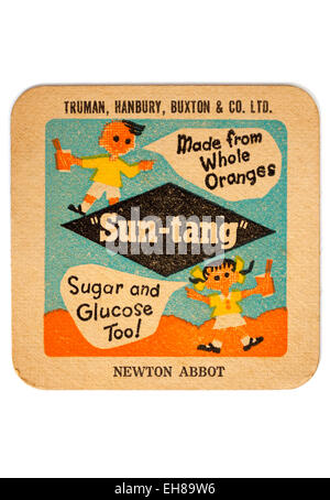 Vintage Beermat Advertising Sun-Tang Soft Drinks from Truman Hanbury and Buxton Breweries - Stock Image