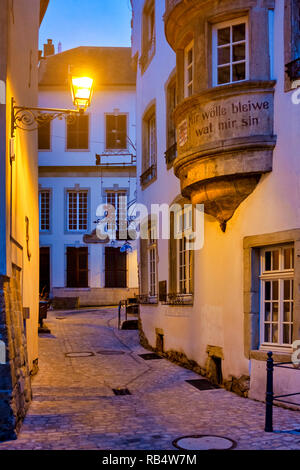 Rue de l'Eau, in the old city of Luxembourg City, Luxembourg - Stock Image