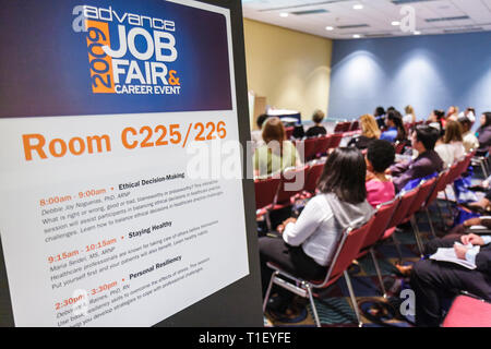 Miami Beach Miami Florida Beach Convention Center centre healthcare job fair career event exhibitor recruiter employment economy - Stock Image