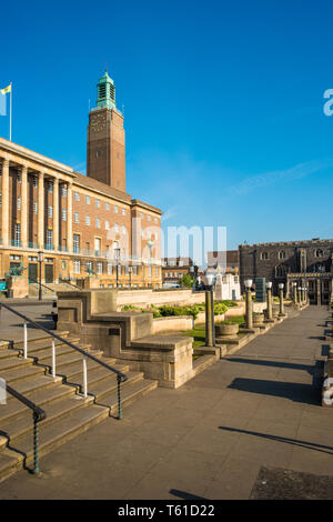 City Hall next to Market Place in Norwich city centre, Norfolk, England, United Kingdom - Stock Image
