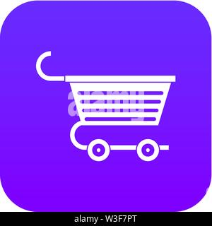 Shopping trolley icon digital purple - Stock Image