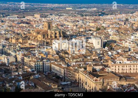 View of Granada historic quarters Albayzin, Sacromonte, Granada, Andalucia, Spain, Europe - Stock Image