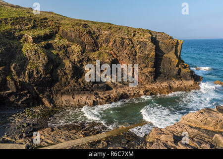 Looking down on Church Cove on the Lizard Peninsula, near Lizard village in Cornwall, England - Stock Image