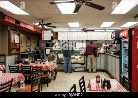 Interior of Johnny's Po-Boys restaurant, New Orleans French Quarter, St. Louis St., New Orleans, LA, USA. - Stock Image