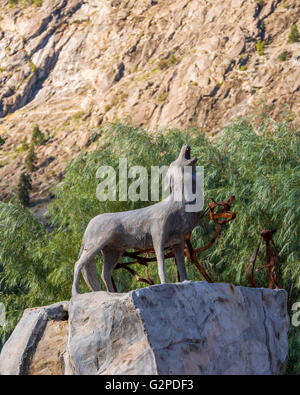 Wolf sculpture at NK'MIP Desert Cultural Centre at Spirit Ridge Resort, Osoyoos BC Canada. Features interpretive - Stock Image