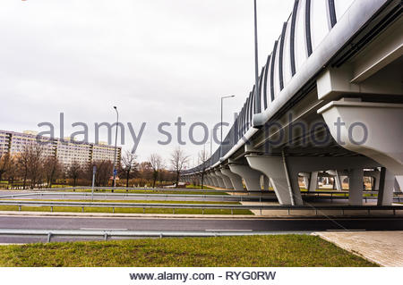 Poznan, Poland - March 3, 2019: Road and bridge on the Inflancka street. - Stock Image
