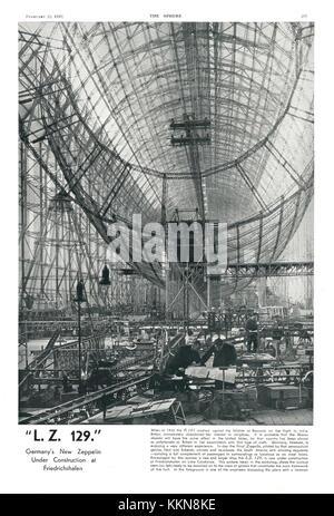 1935 The Sphere Zeppelin 'Hindenburg' under construction at Friedrichshafen - Stock Image