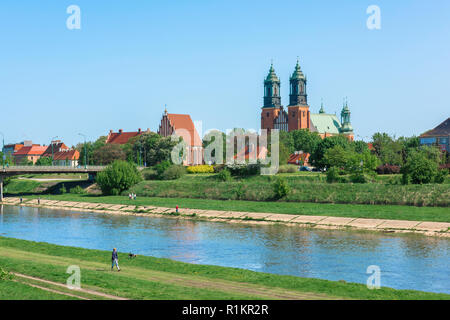 Poznan Cathedral island, skyline view of Cathedral Island (Ostrow Tumski) with the River Warta in the foreground, Poznan, Poland. - Stock Image